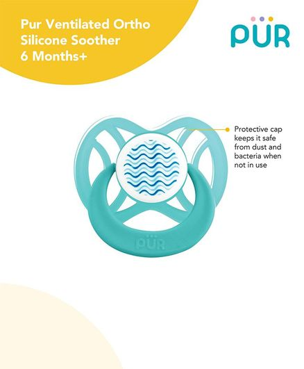 Pur Ventilated Ortho Silicone Soother - Blue
