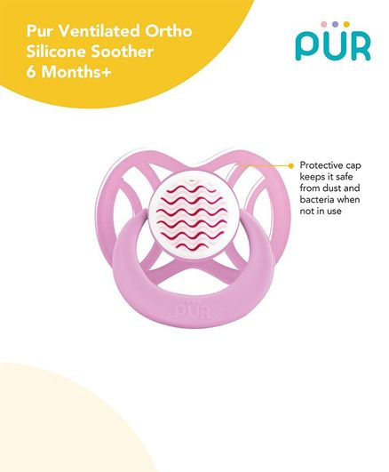 Pur Ventilated Ortho Silicone Soother - Pink