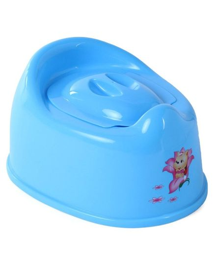 Baby Potty Chair With Lid Animal Print - Blue