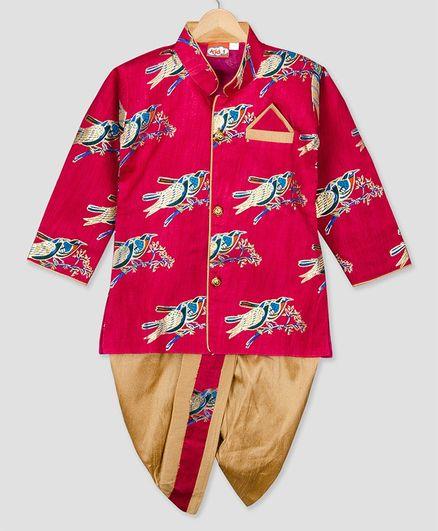 Kid1 Bird Embroidery Work Full Sleeves Kurta & Dhoti Set - Fuchsia