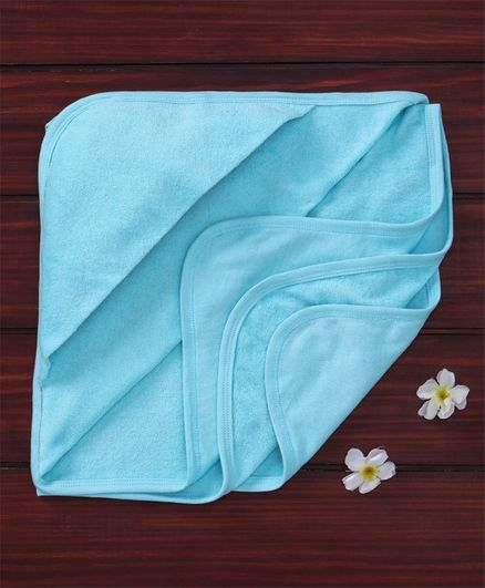 Ohms Solid Hooded Towel - Blue