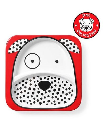Skiphop Sectioned Plate Dalmatian Dog Print - Red
