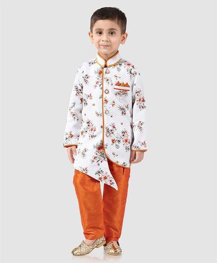 Dapper Dudes Flower Printed Full Sleeves Kurta & Pajama Set - White & Orange