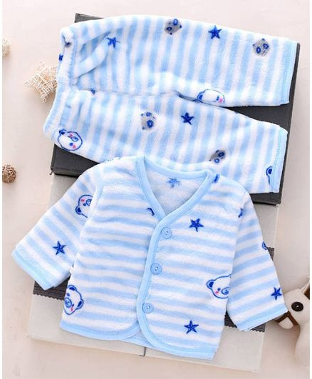 Pre Order - Awabox Full Sleeves Front Buttoned Striped Night Suit - Light Blue