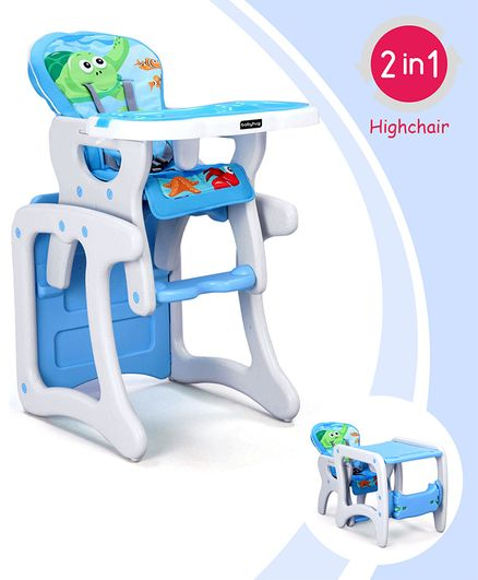 Babyhug Candy 2 in 1 High Chair With Cushioned Seat & 5 Point Safety Harness - Blue