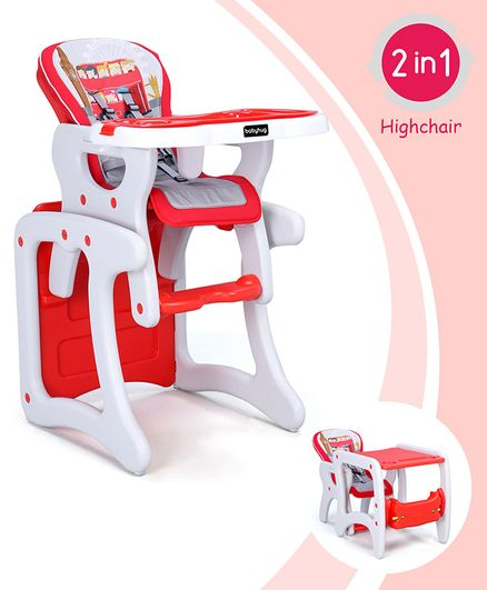 Babyhug Candy 2 in 1 High Chair With Cushioned Seat & 5 Point Safety Harness - Red White
