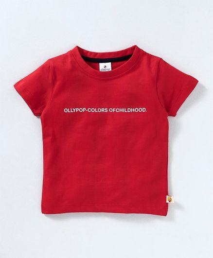 Ollypop Half Sleeves Tee Colours Of Childhood Print - Red