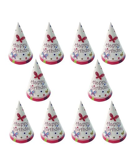 Party Propz Butterfly Printed Birthday Caps White Pink - Pack of 10