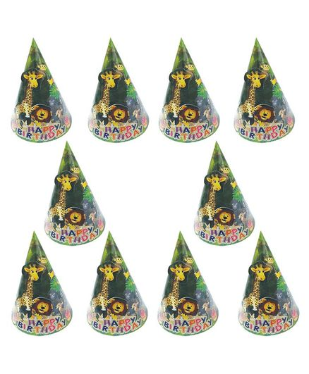 Party Propz Jungle Themed Birthday Caps Dark Green - Pack of 10