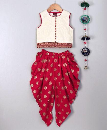 Twisha Printed Sleeveless Top With Dhoti Set - Red