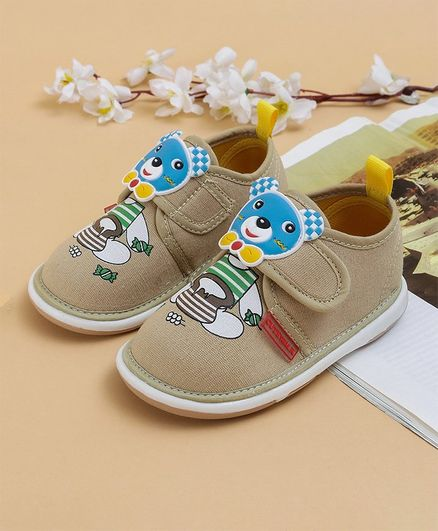 Cute Walk by Babyhug Casual Shoes Bear Patch - Beige