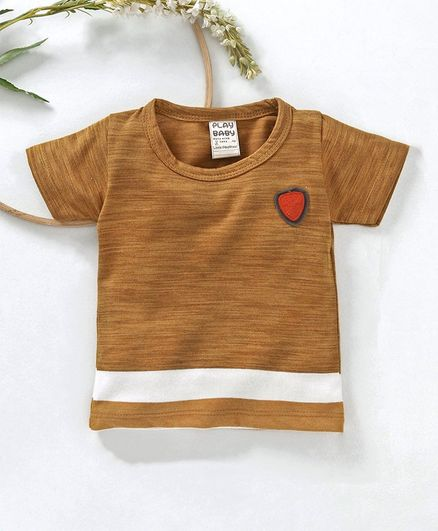 Little Kangaroos Striped Half Sleeves Tee - Brown