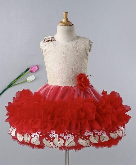 Enfance Sleeveless Flower Applique Fit & Flare Dress - Red & Beige