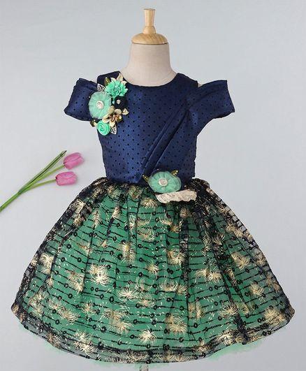 Enfance Flower Applique Cold Shoulder Short Sleeves Dress - Blue