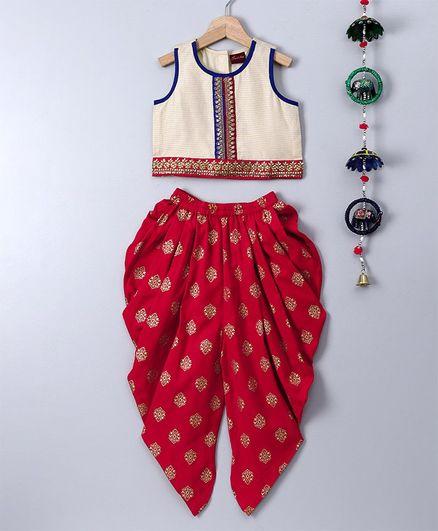 Twisha Sleeveless Top With Ethnic Lace & Dhoti Set - Red