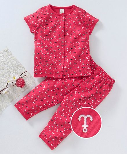 Baby Naturelle & Me Half Sleeves Night Suit Anchor Print - Red