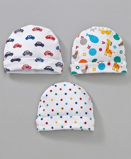 Simply Round Caps Car Prints Pack Of 3 White Online in India 7782ffd7a74