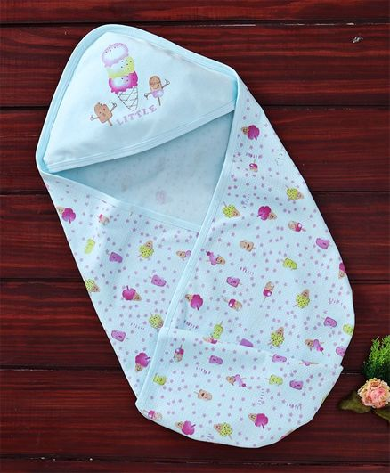 Simply Hooded Wrapper Ice Cream Print - Blue