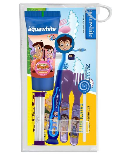 aquawhite Chhota Bheem Eat, Brush, Smile Dubble Bubble Gift Pack - Blue and Purple