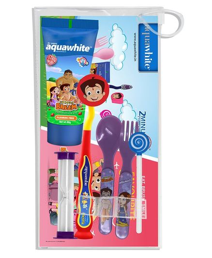 aquawhite Chhota Bheem Eat, Brush, Smile Strawberry Gift Pack - Pink