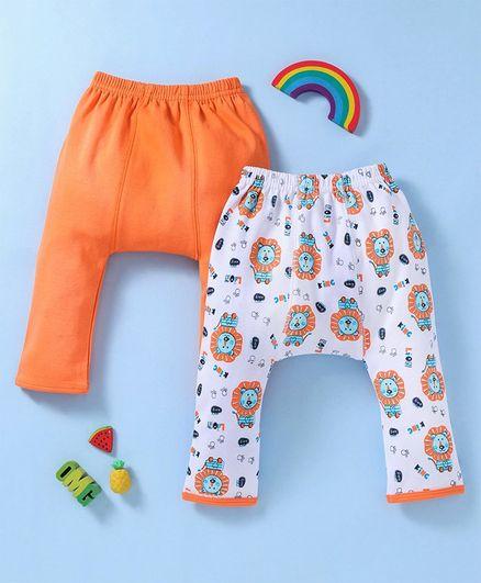 Babyhug Cotton Full Length Elastic Waist Printed & Solid Diaper Leggings Pack of 2 - Orange White