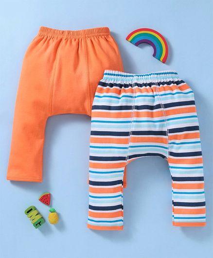 Babyhug Cotton Full Length Elastic Waist Striped & Solid Diaper Leggings Pack of 2 - Orange