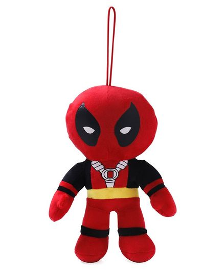 Marvel Deadpool Plush Soft Toy With Hanging Thread Red & Black - Height 20 cm