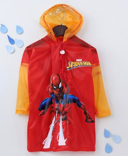 Babyhug Full Sleeves Hooded Raincoat With Pouch Spider Man Print - Red
