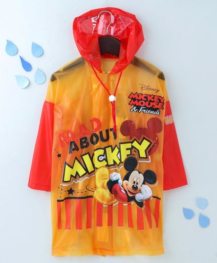 Babyhug Full Sleeves Hooded Raincoat With Pouch Mickey Mouse Print - Red Yellow