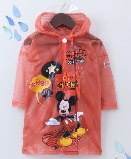 Babyhug Full Sleeves Hooded Raincoat With Pouch Mickey Print - Peach