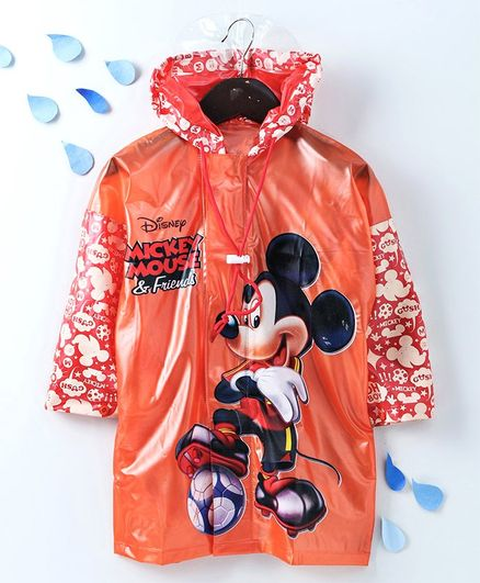 Babyhug Full Sleeves Hooded Raincoat With With School Bag Provision Mickey Print - Orange