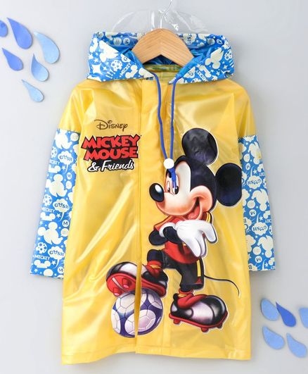 Babyhug Full Sleeves Hooded Raincoat With With School Bag Provision Mickey Print - Yellow Blue