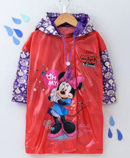 Babyhug Full Sleeves Hooded Raincoat With School Bag Provision Minnie Mouse Print - Red