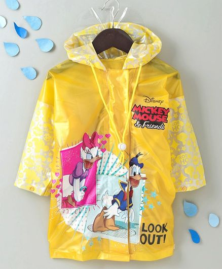 Babyhug Full Sleeves Hooded Raincoat With Pouch Donald Duck & Daisy Duck Print - Yellow