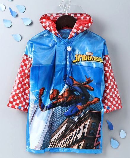 Babyhug Full Sleeves Hooded Raincoat With School Bag Provision Spiderman Print - Blue Red