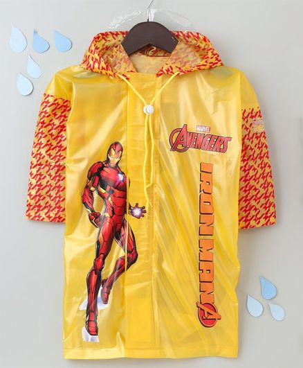 Babyhug Full Sleeves Hooded Raincoat With With School Bag Provision Iron Man Print - Yellow Red