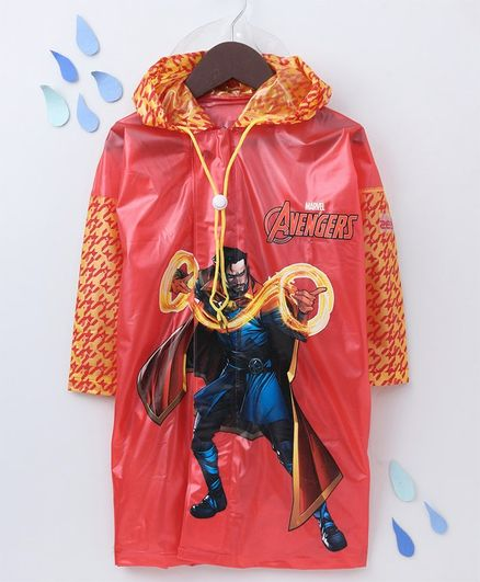 Babyhug Full Sleeves Hooded Raincoat With School Bag Provision Avengers Print - Red
