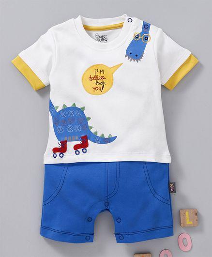 NOQ NOQ Dinosaur Embroidered Half Sleeves Romper - Blue