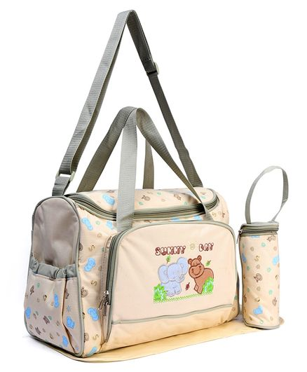 Diaper Bag With Changing Mat & Bottle Cover Elephant Print - Cream