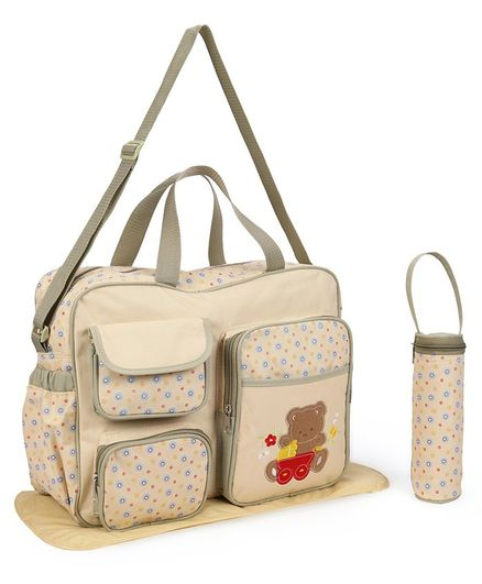 Diaper Bag With Changing Mat And Bottle Cover Bear Embroidery - Cream