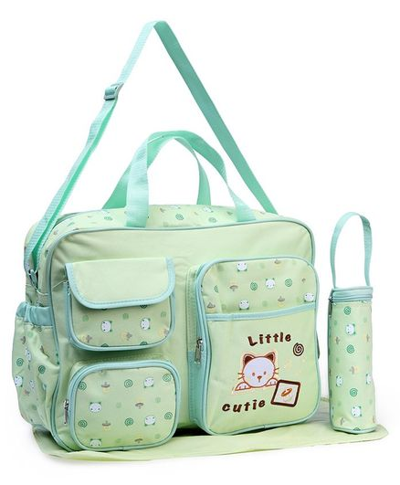 Diaper Bag With Changing Mat And Bottle Cover Kitty Embroidery - Light Green