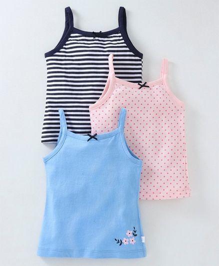 Babyoye Multi Printed Cotton Singlet Slips Pack of 3 - Blue Pink