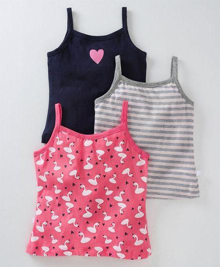Babyoye Singlet Cotton Camisoles Swan Print Pack of 3 - Navy Blue Pink Grey