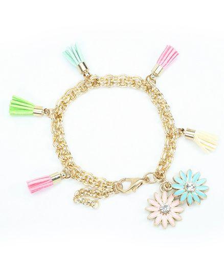 Asthetika Flower & Tassel Embellished Bracelet - Multi Colour