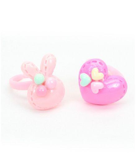 Asthetika Bunny & Heart Applique Set Of 2 Finger Rings - Pink