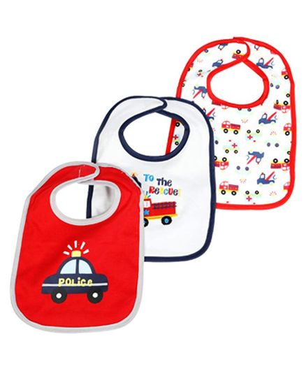 Mee Mee Absorbent Weaning Cars Print Bibs Set of 3 - Red White