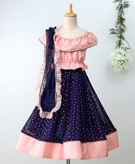 KIDSDEW Off Shoulder Top With Heart Detailed Lehenga & Dupatta Set - Blue & Pink