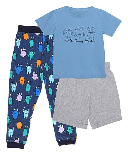 My Milestones Clothing Gift Set Little Crazy World Print Blue - 3 Piece