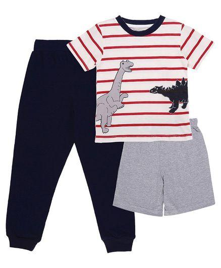 My Milestones Clothing Gift Set Dinosaurs Print Blue Red - 3 Piece