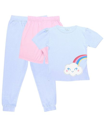 My Milestones Clothing Gift Set Rainbow Print Blue - 3 Piece